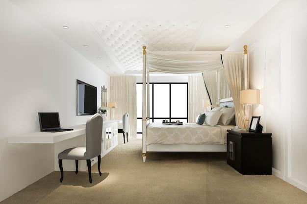 Suite da letto vintage di lusso in hotel e resort
