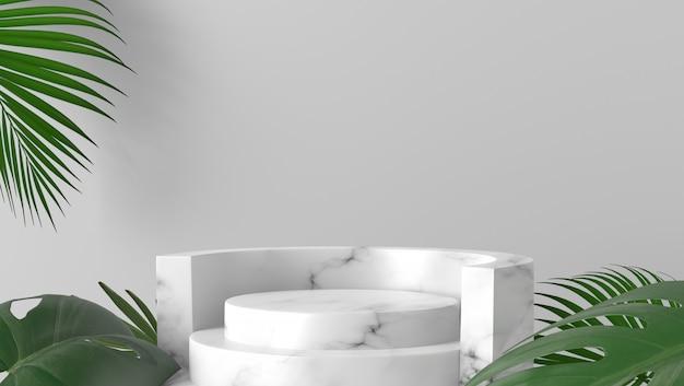 Podio e foglie di palma di marmo bianchi di lusso del cilindro nel fondo bianco