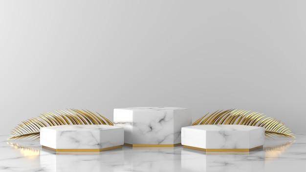 Podio di lusso bianco della vetrina di esagono di marmo e foglie di palma dorate nel fondo bianco