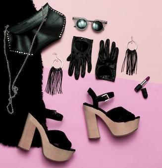 Abbigliamento donna di lusso sexy vista dall'alto data outfit tacchi rossetto moda nera
