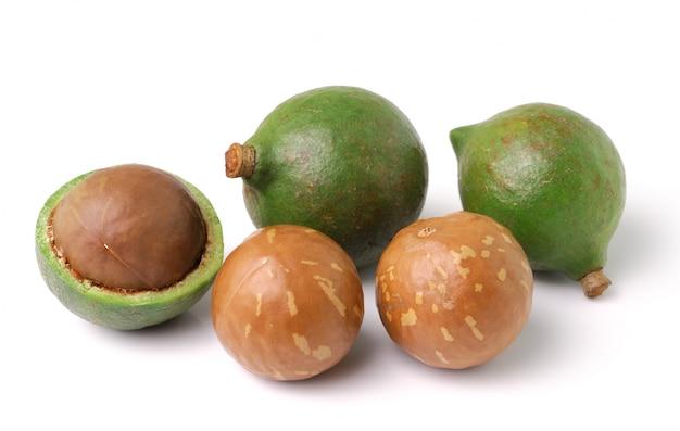 Noci di macadamia su fondo bianco
