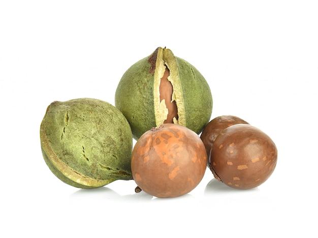 Noci di macadamia su bianco