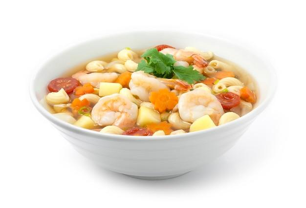 Zuppa di maccheroni con gamberetti