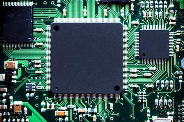 Macro colpo del chip del processore del computer