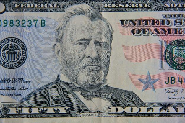 Ripresa macro di una banconota da cinquanta dollari?