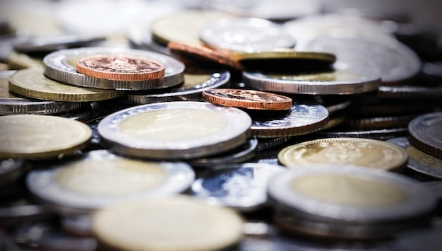 Sfondo di monete macro baht tailandese