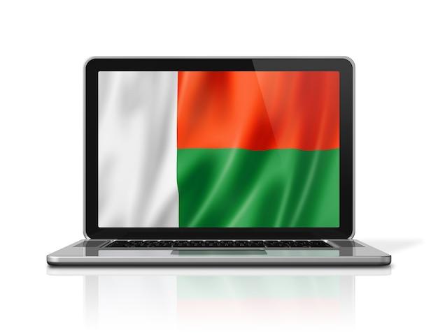 Bandiera del madagascar sullo schermo del computer portatile isolato su bianco. rendering di illustrazione 3d.