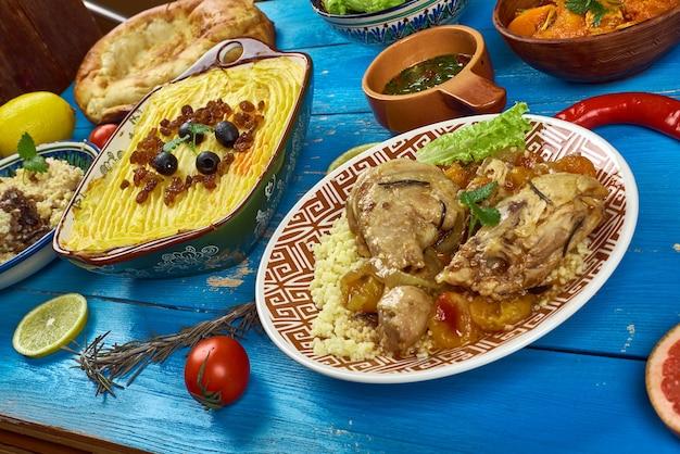 Cucina maghrebina. piatti tradizionali del maghreb assortiti, vista dall'alto.