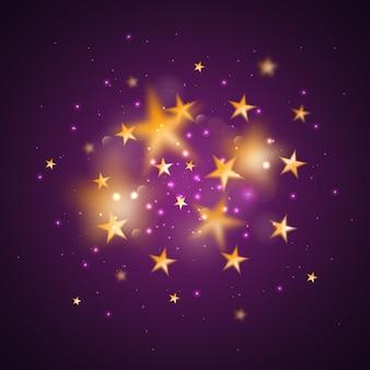 Sfondo astratto magico con stelle sfocate dorate