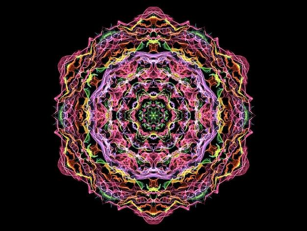Fiore di mandala fiamma astratta magica, reticolo rotondo al neon sul nero