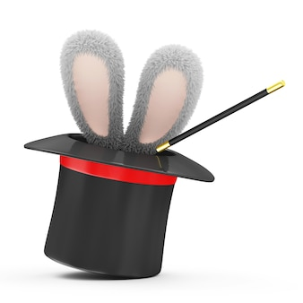 Cappello magico con orecchie di coniglio isolato su sfondo bianco