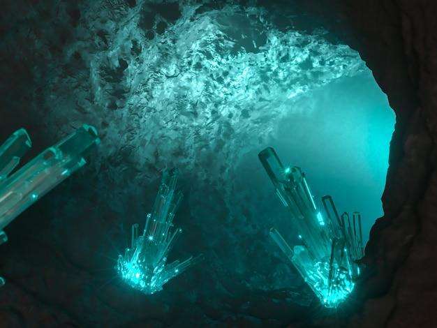 Grotta magica illuminata con cristalli all'interno. illustrazione 3d