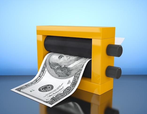 Magic press per fare soldi su sfondo blu. rendering 3d