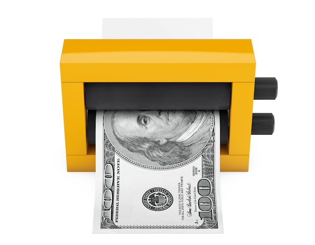 Magic press per fare soldi su uno sfondo bianco. rendering 3d