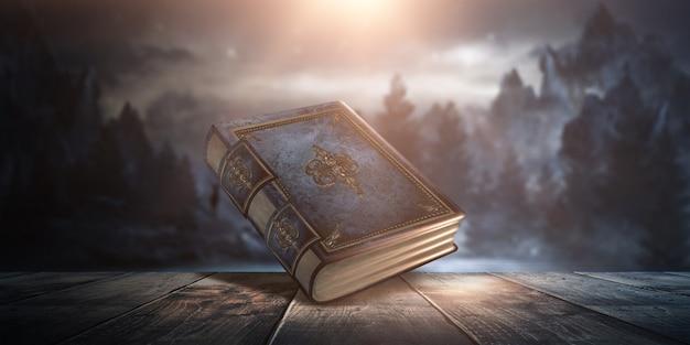 Libro fantasy vintage magico su sfondo scuro, paesaggio, fumo, nebbia, luce di luna al neon al buio. illustrazione 3d.