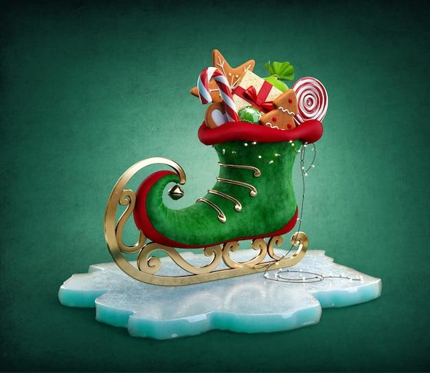 Magico pattino da elfo pieno di regali di natale e dolci insolita illustrazione di natale