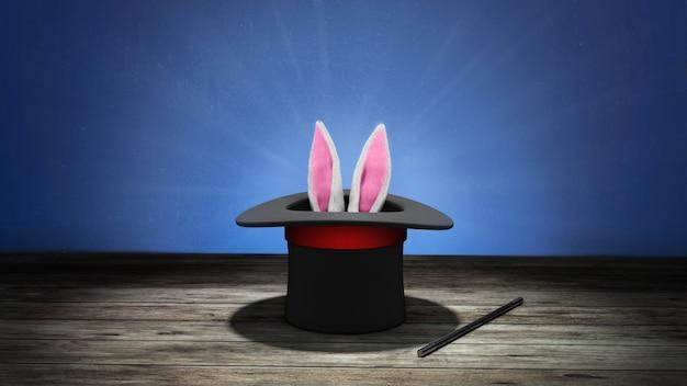 Cappello da mago. le orecchie di coniglio sporgono con un cappello a cilindro nero con un nastro rosso e una bacchetta magica. sfondo blu con pavimento in legno. rendering 3d.