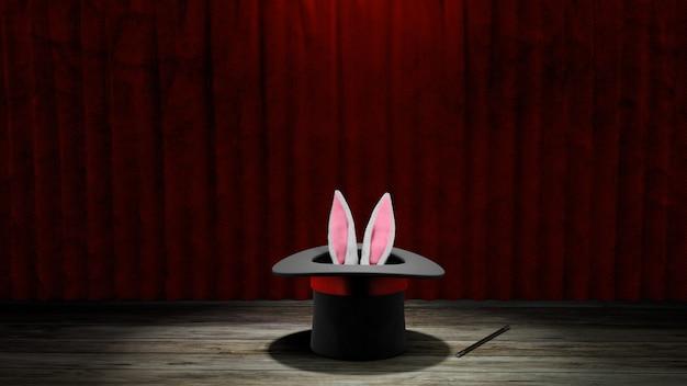 Cappello da mago. le orecchie di coniglio sporgono con un cappello a cilindro nero con un nastro rosso e una bacchetta magica. tenda rossa con pavimento in legno. rendering 3d.