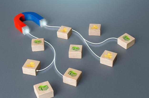 Il magnete con le linee attira i blocchi con il denaro profitto che aumenta la riscossione delle tasse prestiti in prestito