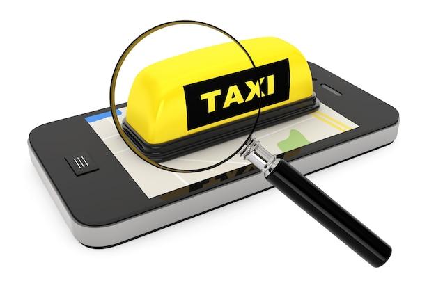 Lente d'ingrandimento, segno di taxi con telefono cellulare e mappa su sfondo bianco