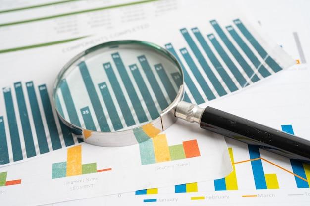 Lente di ingrandimento su carta millimetrata sviluppo finanziario conto bancario