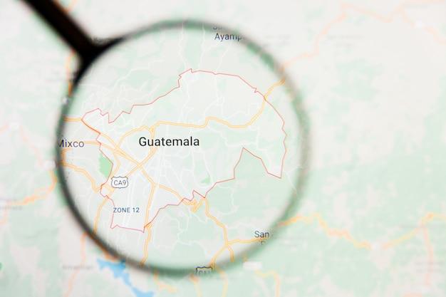 Lente d'ingrandimento sulla mappa del guatemala
