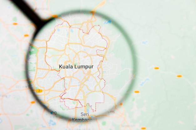 Lente d'ingrandimento sulla mappa della malesia
