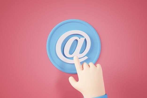 Concetto di pulsante di contatto di posta