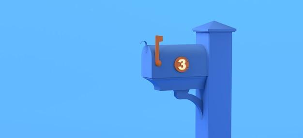 Cassetta postale con tre lettere non lette su sfondo blu. illustrazione 3d. copia spazio.
