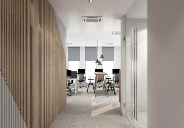 Ingresso principale in un ufficio moderno con pavimento in moquette e rendering 3d interno dell'area di lavoro