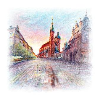 Piazza del mercato principale, cracovia, polonia
