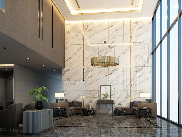 Area di attesa della reception della hall principale in condominio o hotel con mobili di lusso e struttura in marmo in tonalità di grigio rendering 3d di colore