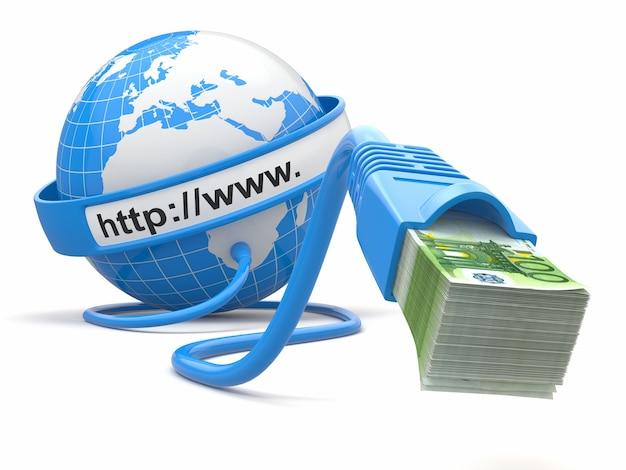 Fare soldi online. concetto. terra e cavo internet con soldi.