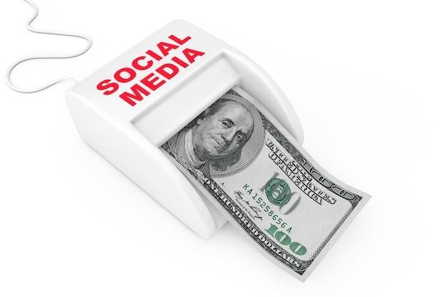 Guadagna con il concetto di social media. money maker social media machine con banconote in dollari su sfondo bianco. rendering 3d