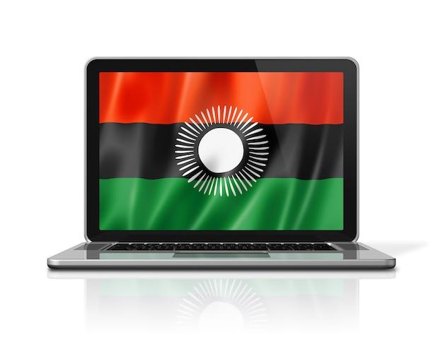 Bandiera del malawi sullo schermo del computer portatile isolato su bianco. rendering di illustrazione 3d.