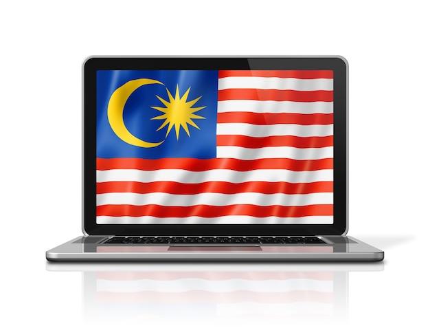 Bandiera della malesia sullo schermo del computer portatile isolato su bianco. rendering di illustrazione 3d.