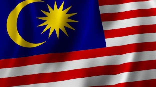 Rendering 3d del primo piano d'ondeggiamento della bandiera della malesia con l'immagine di alta qualità con struttura del tessuto fabric