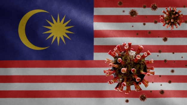 Bandiera malese sventola con focolaio di coronavirus che infetta le vie respiratorie come pericolosa influenza