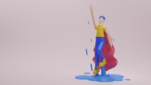 Personaggio maschile con il supereroe in copertina in tessuto business start up concept 3d render