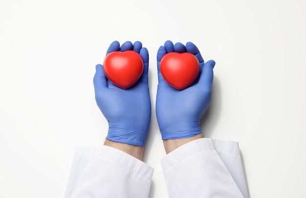 Mano del medico maschio in guanti di lattice blu e camice bianco che tiene un cuore rosso, concetto di donazione, superficie bianca