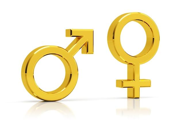 Rendering 3d di simboli sessuali maschili e femminili