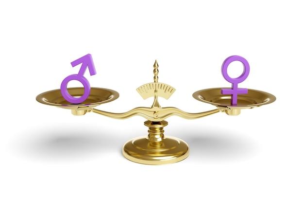 Segni maschili e femminili su una scala di equilibrio isolata su bianco.