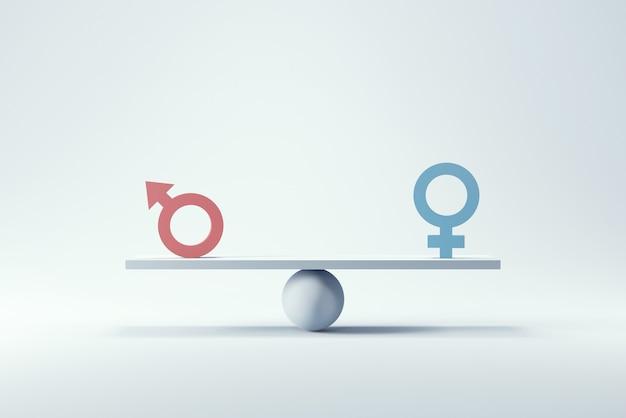 Simbolo maschile e femminile sulla bilancia con equilibrio su sfondo blu.