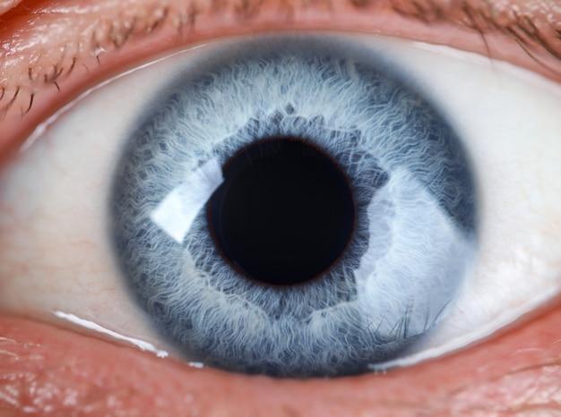 Primo piano estremo maschio dell'occhio colorato grigio e blu