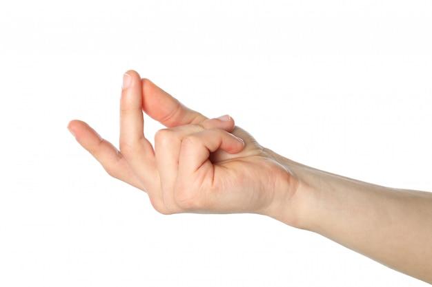 Mano maschio che mostra gesto, isolato su superficie bianca