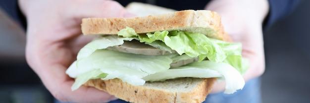 Il maschio passa il panino con il concetto degli alimenti a rapida preparazione del primo piano delle erbe