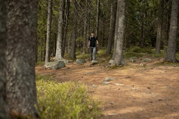 Escursionista maschio in un viaggio attraverso la foresta
