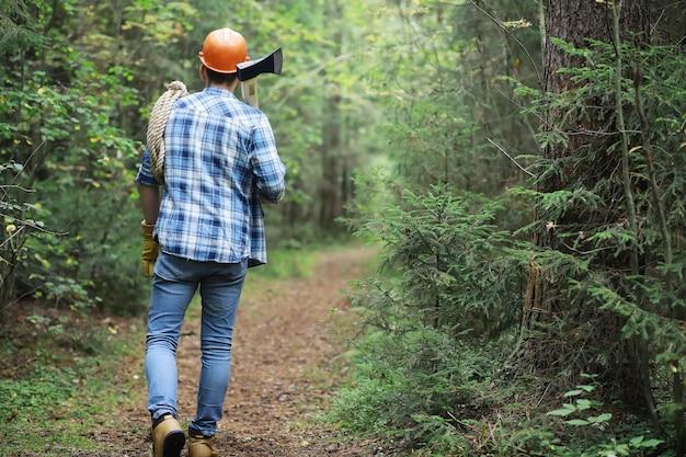 Boscaiolo maschio nella foresta. un taglialegna professionista ispeziona gli alberi per l'abbattimento.