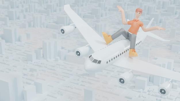 Uomo seduto in cima all'aereo che viaggia l'idea di aprire un paese per il turismo e stimolare l'economia 3d render