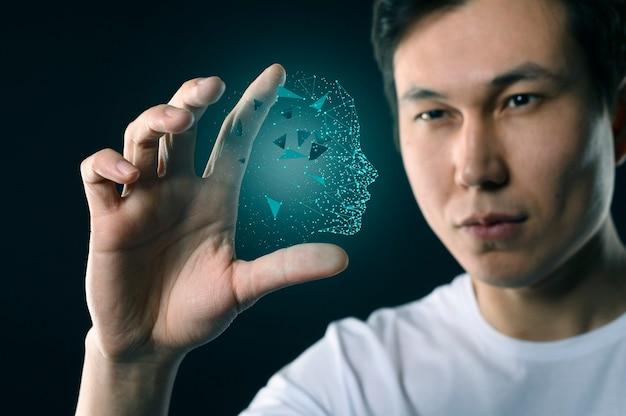 Maschio con interfaccia avatar